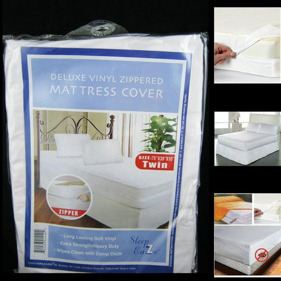 Twin Size Mattress Cover Vinyl Waterproof Zippered Blocks