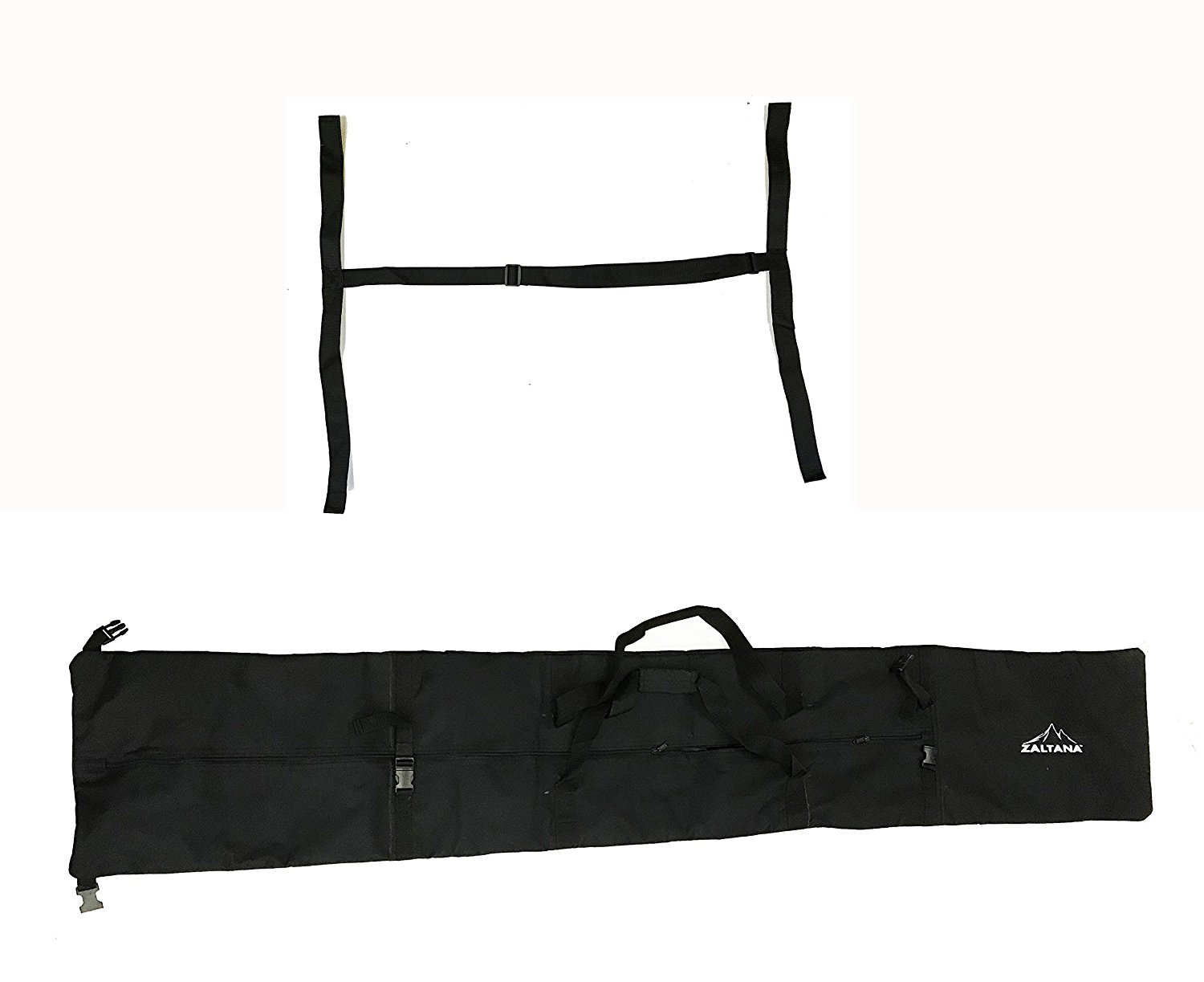 "zaltana SKB18 Padded Ski Carier Bag Rack Holds & 1-1 2"" Ski Shoulder Carrier Lash Handle Straps Combo, Black by"