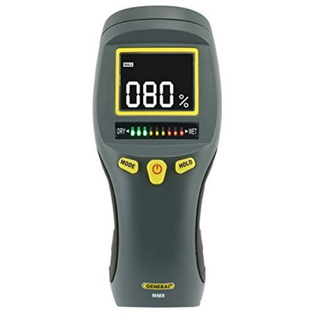 General Tools MM8 Pinless LCD Moisture Meter with Tricolor Bar -