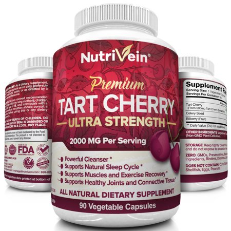 - Nutrivein Tart Cherry Capsules 2000mg - 90 Vegan Pills - Antioxidants, Flavonoids - Supports Uric Acid Cleanse, Anti Inflammatory, Muscle Recovery, Joint Pain, Healthy Sleep, Juice Extract Supplement