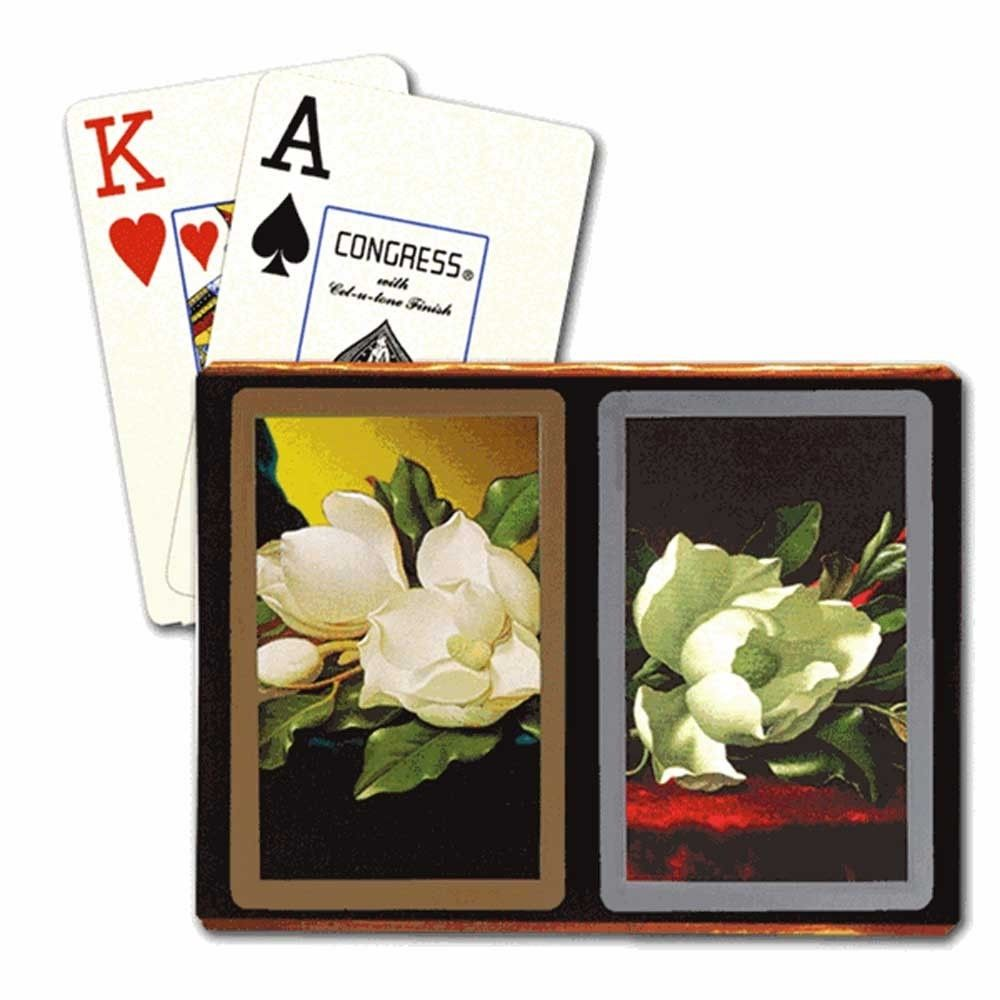 CONGRESS MAGNOLIA SOUTHER CHARM BRIDGE PLAYING CARDS JUMBO INDEX SIZE DECKS WITH CEL-U-TONE FINISH