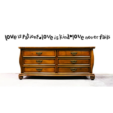 Top Selling Decals   Prices Reduced Decal Wall Sticker   Love Is Patient Love Is Kind Love Never Fails Quote Inspirational Life 8X32 Inches