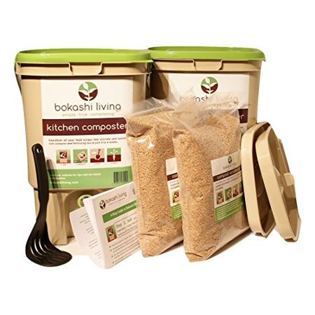 2 bin Bokashi Composting Starter Kit (includes 2 bokashi bins, 3.5lbs of bokashi bran and full instructions)