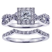 White Gold 1 1/6ct Braided Princess-cut Diamond Engagement Wedding Band Set (G-H, SI1-SI2) 18k Gold - Size 5.0
