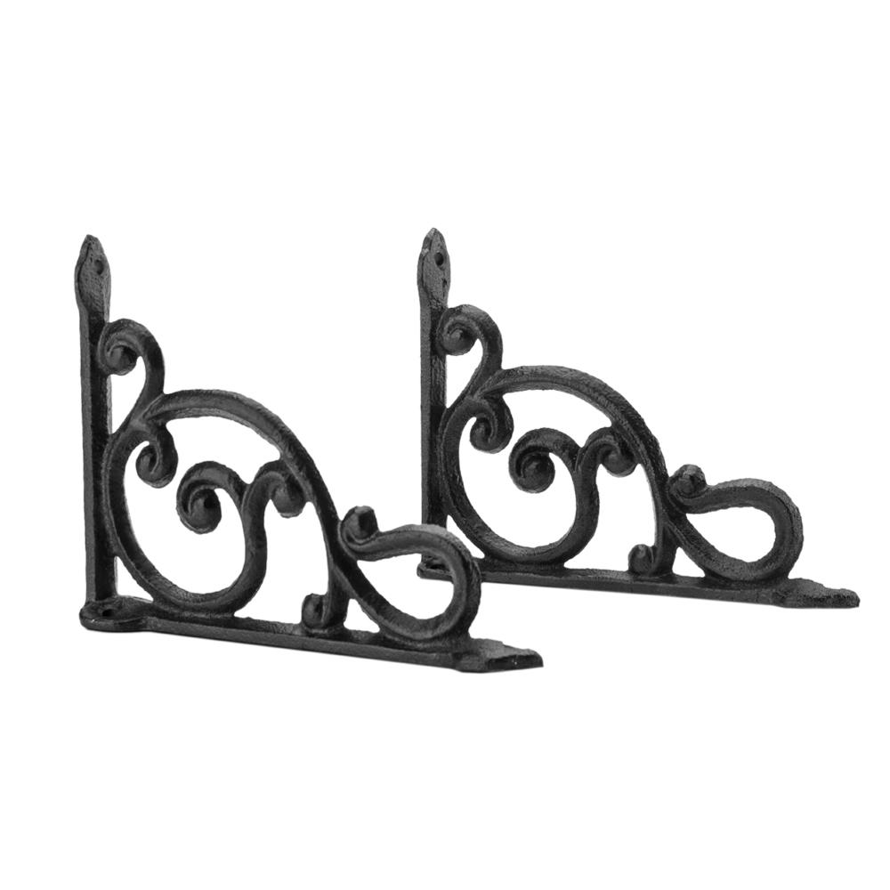 US 2PCS Antique Style Cast Iron Brackets Garden Hanging Hooks Shelf Black