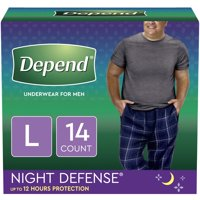 Depend Night Defense Incontinence Underwear for Men, Overnight, Size Large, 14 Count