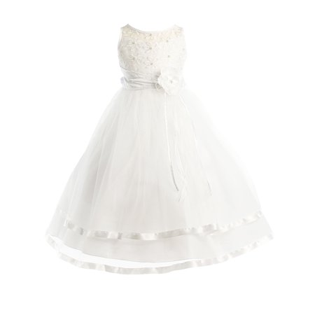 Dempsey Marie Communion Flower Girl Pageant Illusion Ribbon Tulle Dress (Lavender And White Flower Girl Dresses)