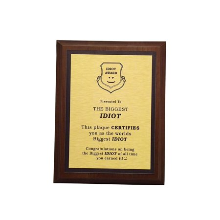 Aahs Engraving Worlds Greatest Plaques (Biggest Idiot, Gold)