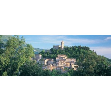 Image of Buildings surrounded by trees Montefortino Province of Ascoli Piceno Marches Italy Canvas Art - Panoramic Images (36 x 13)