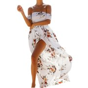 Cold Shoulder Women Summer Slim Bench Printing Long Dress
