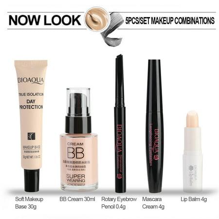 BIOAQUA 5pcs Makeup Set BB Cream Makeup Base Lip Balm Mascare Cream Eyebrow Pencil Cosmetic Makeup Set for Beginner and Experienced
