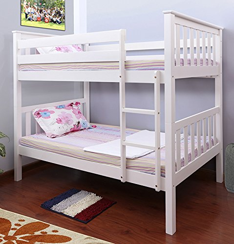 Pineville Wooden Twin Over Twin Bunk Bed White Walmart Com
