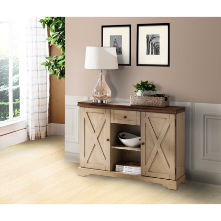 Antique White & Walnut Wood Sideboard Buffet Console Table With Storage Draer, Shelves & Cabinet Doors