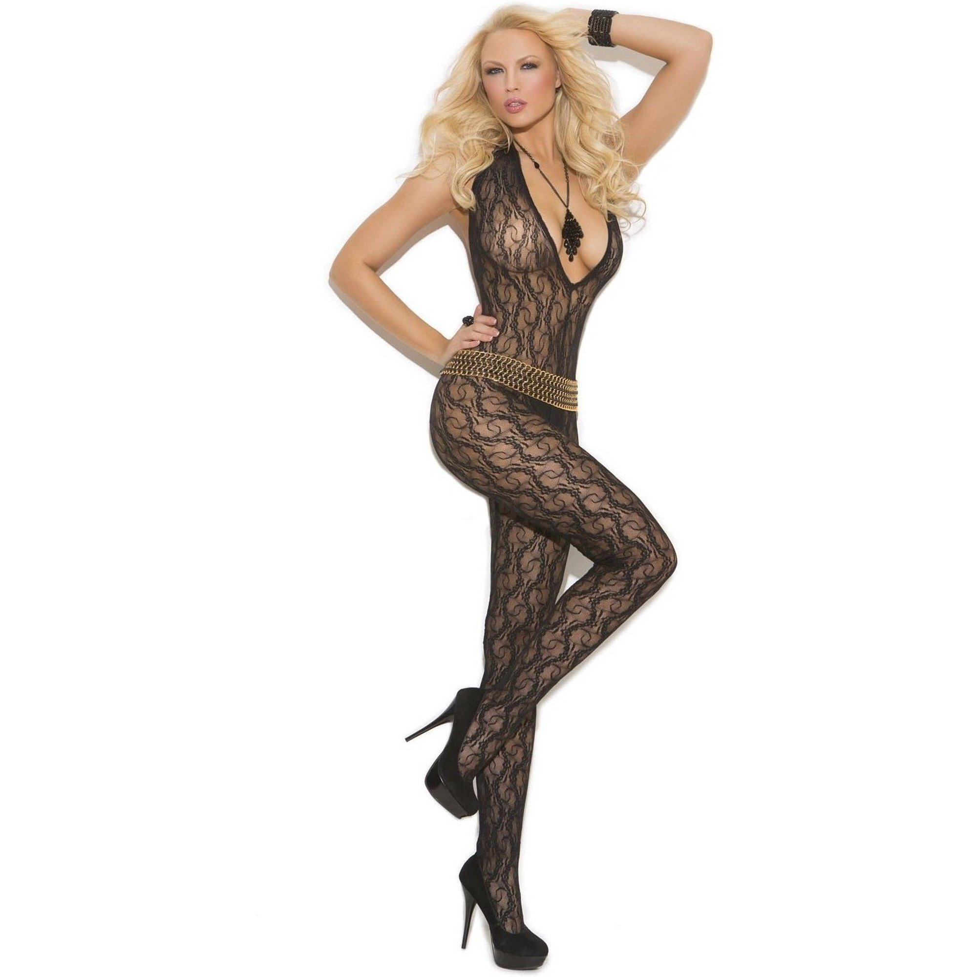 cbafad9bd Elegant Moments EM-1608 Deep V Lace Bodystocking with Open Crotch Black    O S