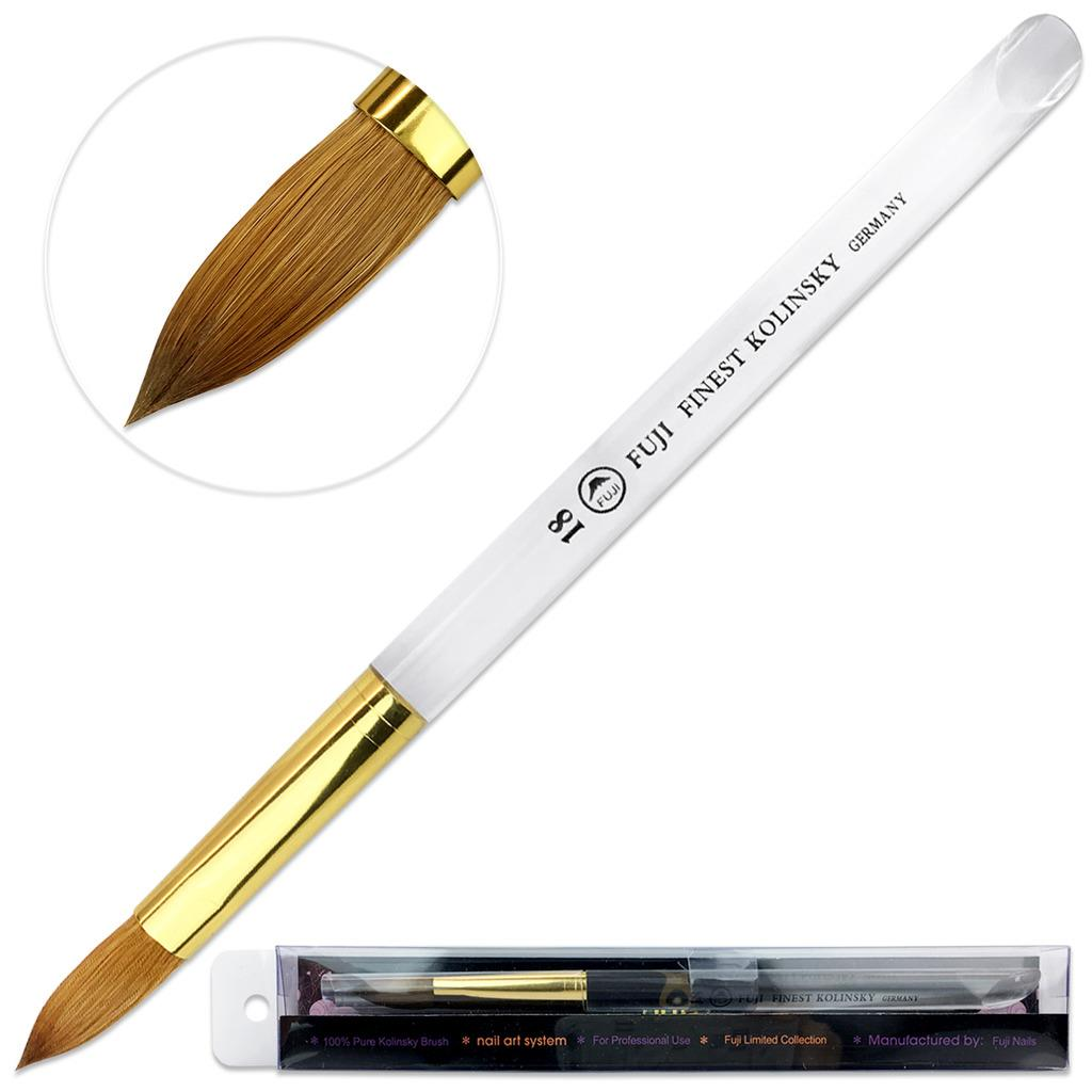 Fuji Finest Kolinsky Acrylic Nail Brush with Oval Acrylic Handle Size 18