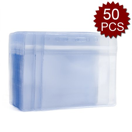 GOGO Set of 50 Clear Plastic Name Tag Badge Id Card Holders Large Heavy Duty Waterproof 3