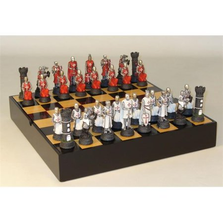 - Crusades Battle Chess Set with Black/Maple Inlaid Veneer Chest Board