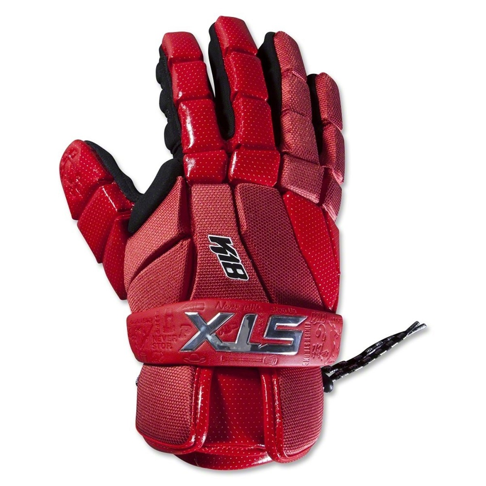 "STX Lacrosse 10"" K-18 Lacrosse Gloves, Red, Medium"