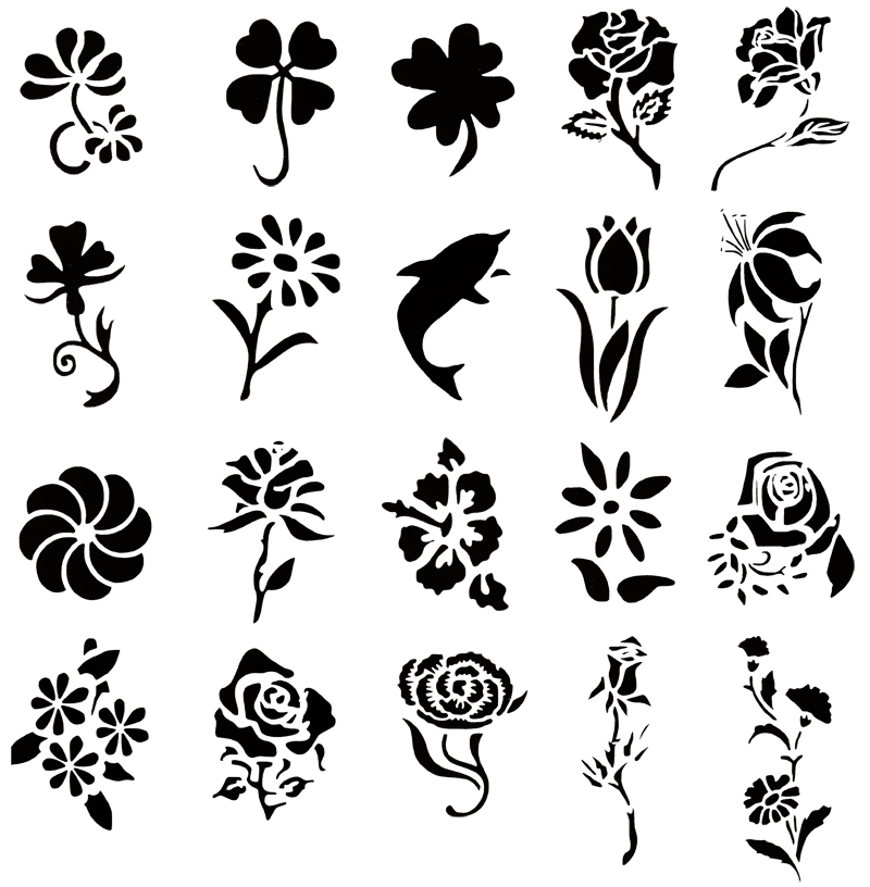 Self Adhesive Airbrush Tattoo Stencil Set 53 Book Of 20