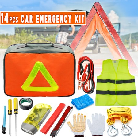 Portable Car Emergency Kit Vehicle Roadside Emergency Breakdown & Safety Kit Auto Car Tools Set W/ Bag Road Rescue Tool Outdoor Survival Equipment Set