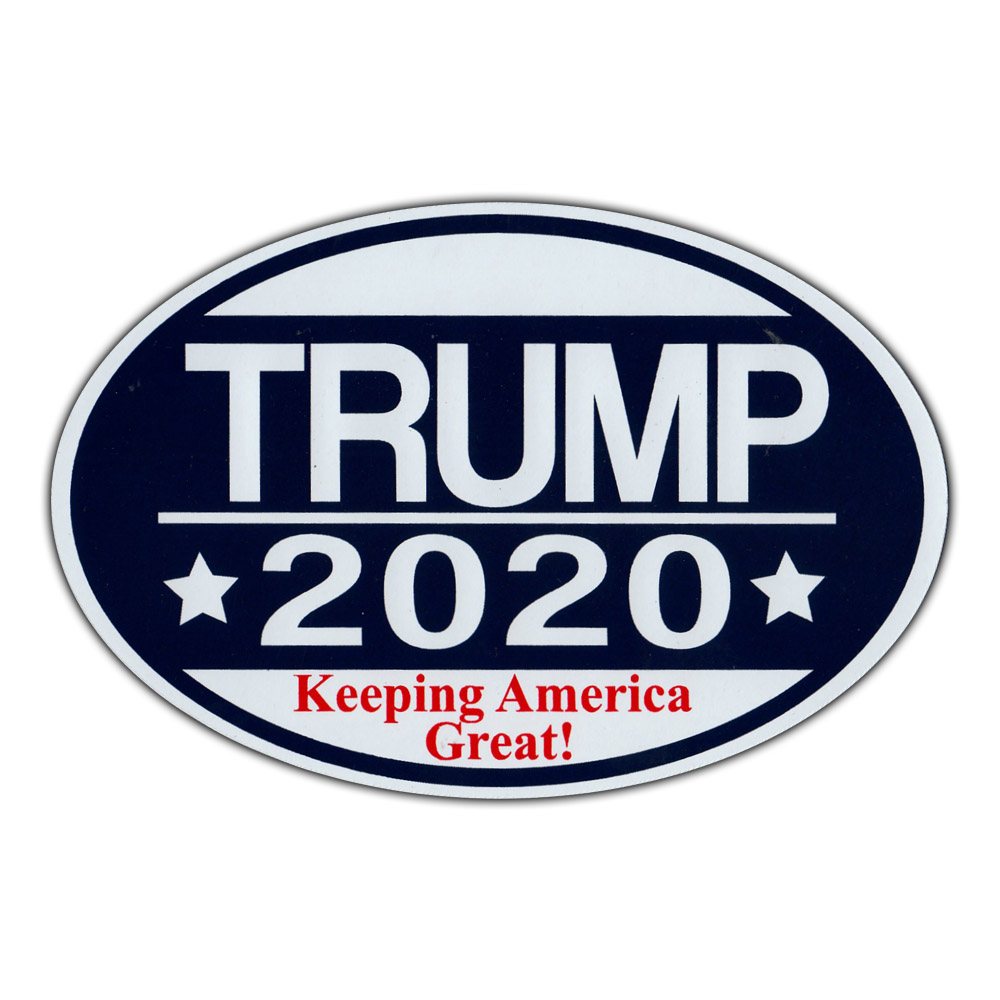 Oval shaped magnet donald trump 2020 keeping america great republican party magnetic bumper sticker