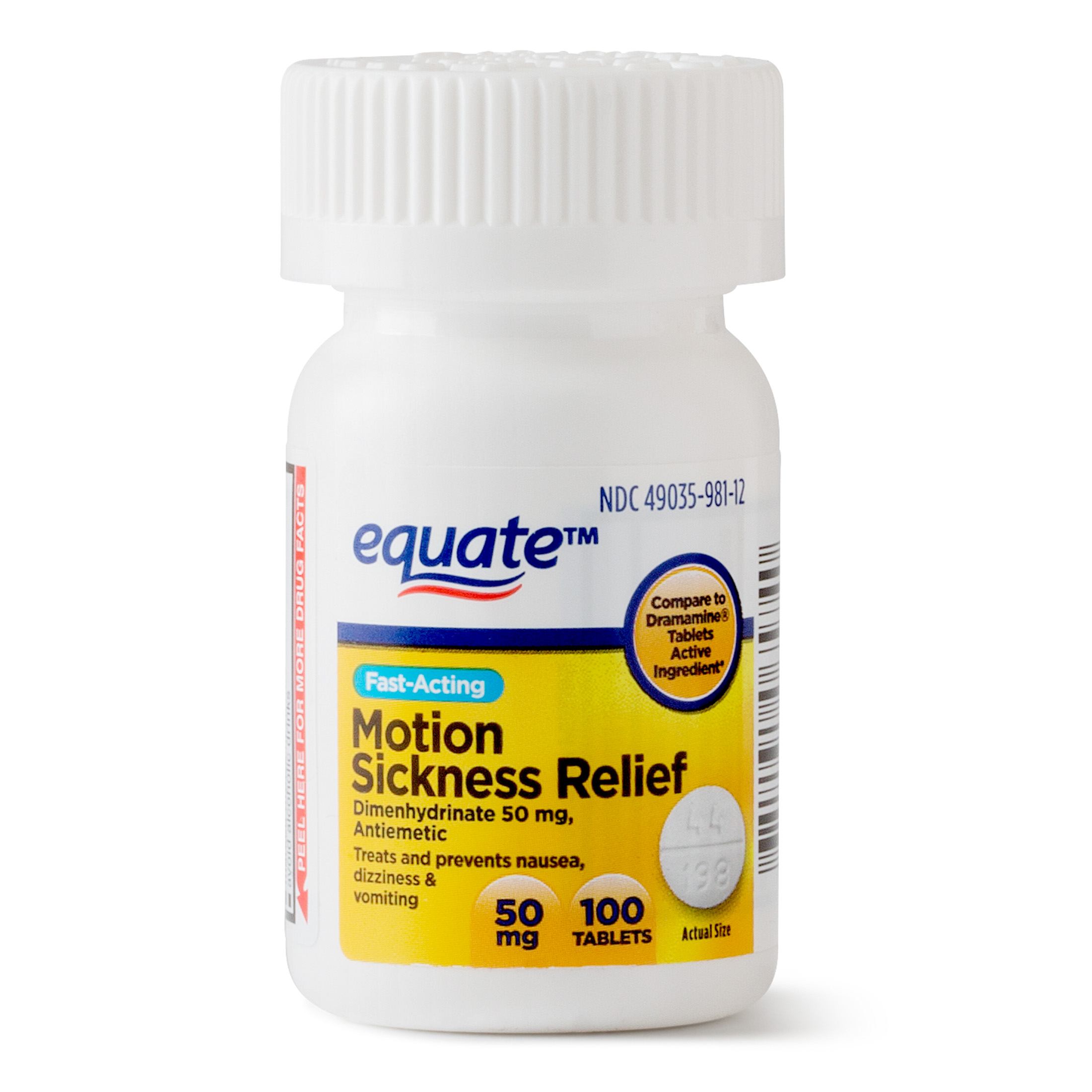 Equate Fast Acting Motion Sickness Relief Dimenhydrinate Tablets, 50 mg, 100 Ct