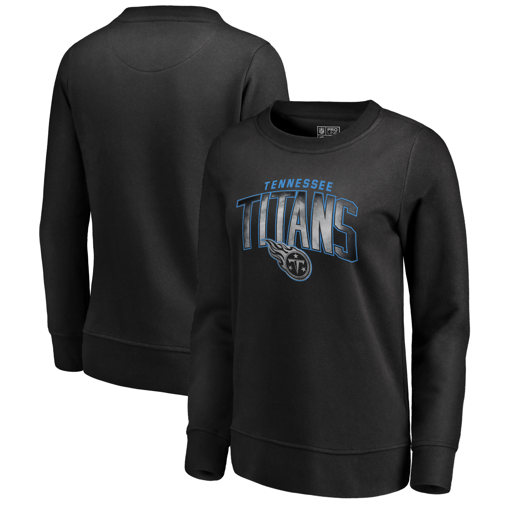 Tennessee Titans NFL Pro Line by Fanatics Branded Women's Arch Smoke Crew Neck Fleece Sweatshirt - Black