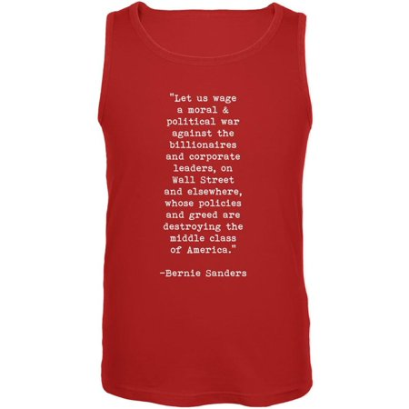 Election 2016 Bernie Sanders Quote Moral War Red Adult Tank Top