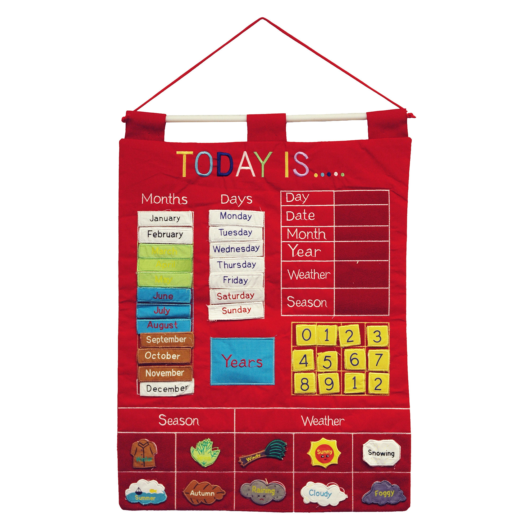 Almas Designs Children's Calendar - Red Wall Chart - Early Learning