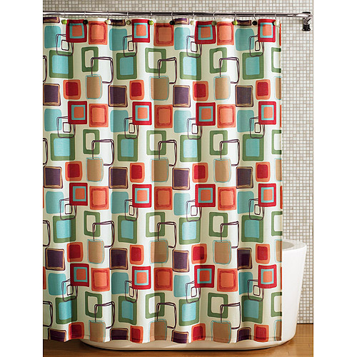 Hometrends Squares Fabric Printed Shower Curtain, Multicolored, Polyester