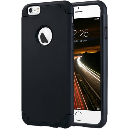 iPhone 6s/6 plus Case, ULAK Slim Fit Dual Layer Soft Silicone Hard Back Cover Bumper Protective Shock-Absorption Anti-Scratch Case for Apple iPhone 6/6S Plus 5.5 inch, Black -  iPhone-6s-6-Plus-case