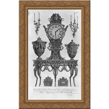 A five legged table, wall Matterhorn, surmounted by a clock between two decorative vases, two candelabra wall, two urns 18x24 Gold Ornate Wood Framed Canvas Art by Piranesi, Giovanni Battista