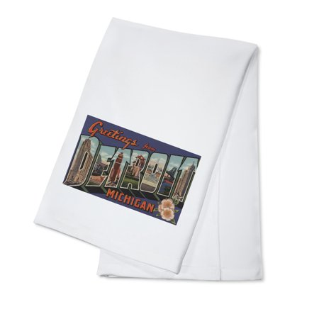 Greetings from Detroit, Michigan (Blue/White Trim) (100% Cotton Kitchen Towel)