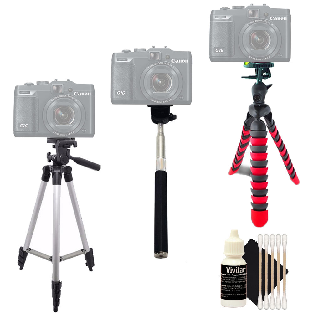 Tall Flexible Tripod and Monopod with Cleaning Kit for Canon EOS T5 T6 and All Digital Cameras