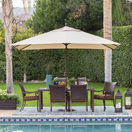 Umbrellas Patio Furniture - Coral Coast 8 x 11 ft. Aluminum Rectangle Patio Umbrella