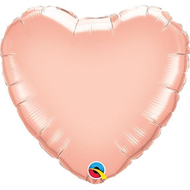Qualatex 89274 9 in. Rose Gold Heart Shape Flat Foil Balloon