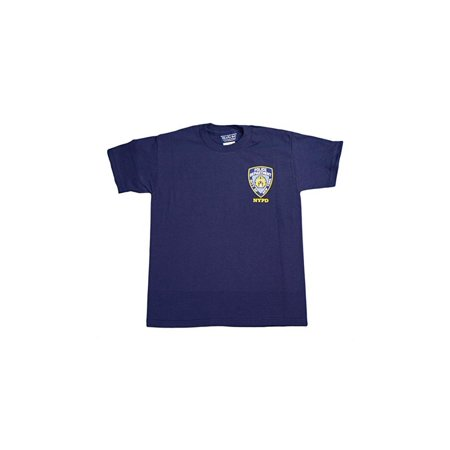 NYC FACTORY NYPD Kids Short Sleeve Screen Print Police Back T-Shirt Navy Yellow XS