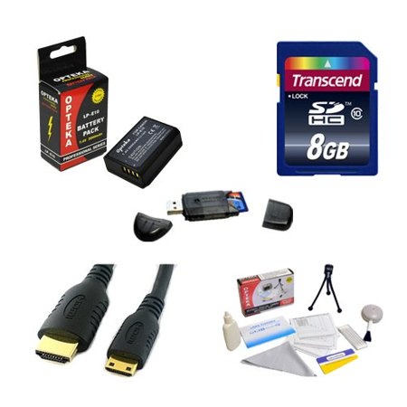 Transcend 8GB SDHC Class 10 Memory Card and Opteka LP-E10 2000mAh Battery Package for the Canon EOS Rebel T3 T5 1100D 1200D Kiss (Best Memory Card For Canon 1100d)