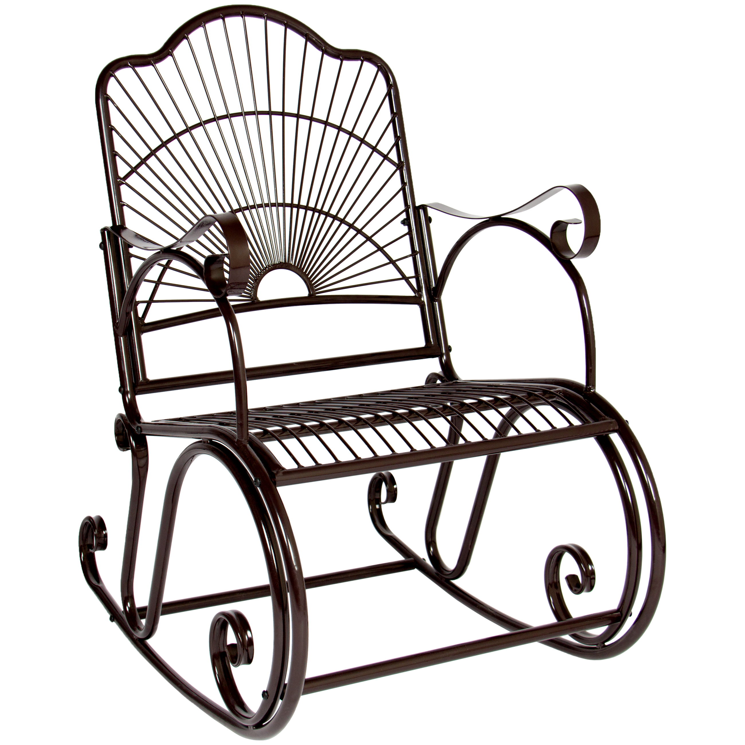 Best Choice Products BCP Patio Iron Scroll Porch Rocker Rocking Chair Outdoor Deck Seat Antique Style Backyard Glider