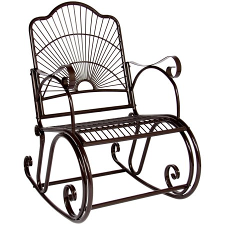 Iron Rocker - Best Choice Products BCP Patio Iron Scroll Porch Rocker Rocking Chair Outdoor Deck Seat Antique Style Backyard Glider