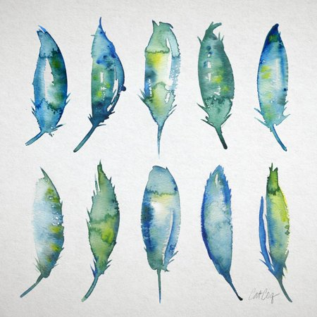 Feather Watercolor Print Wall Art By Cat (Cat Watercolor)