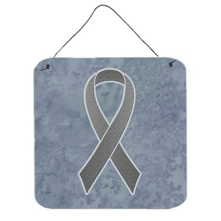 Grey Ribbon for Brain Cancer Awareness Aluminium Metal Wall or Door Hanging Prints, 6 x 6 In.