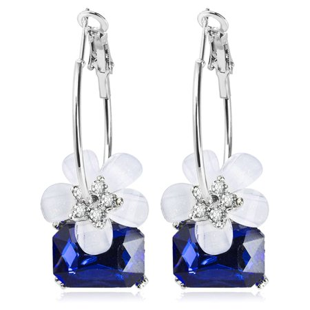 Fancyleo New Crystal Cherry Earrings For Women Ear Jewelry Silver Color Flower Blossoms Big Smooth Round Circle Loop Earring Accessories Cherry Quartz Flower Earrings