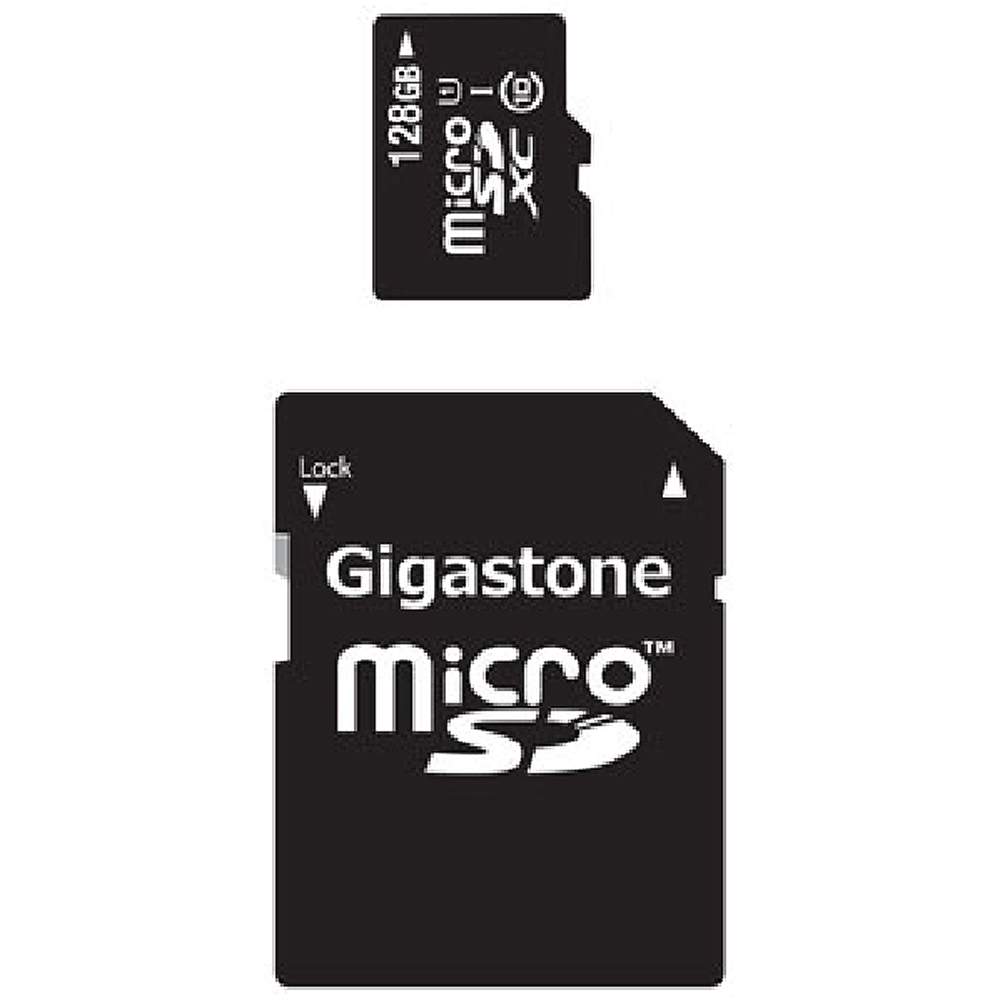 Gigastone MicroSDXC 128GB C10 U1 with SD and USB Adapters