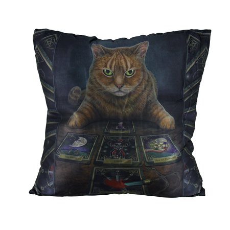 Lisa Parker 'The Reader' Cat and Tarot Cards Decorative Throw Pillow