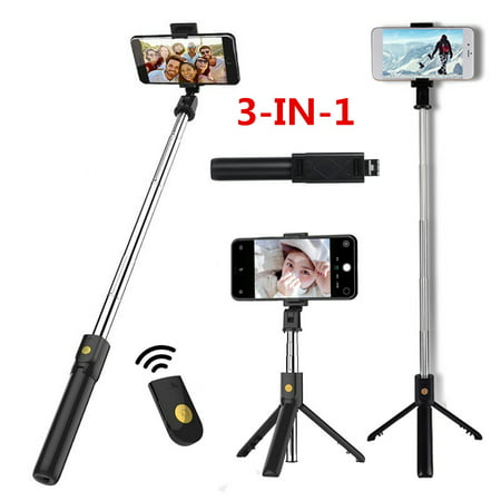 3-IN-1 Extendable Selfie Stick 7.7''-23.6'' + Remote Control Shutter + Handheld Monopod Tripod Mount for iPhone & Android and Other Cell (Best Selfie Stick For Iphone And Android)