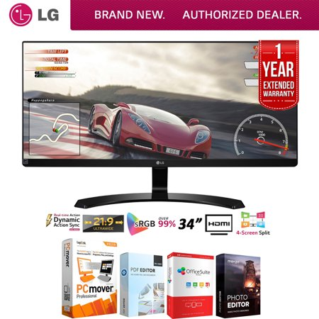 - LG 34UM60-P 34-Inch IPS WFHD (2560 x 1080) Ultrawide Freesync Monitor (2017 Model) + Elite Suite 18 Standard Editing Software Bundle + 1 Year Extended Warranty