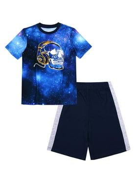 Wonder Nation Boys Pajama Shorts Sleep Set, 2-Piece Set, Sizes 4-18 & Husky