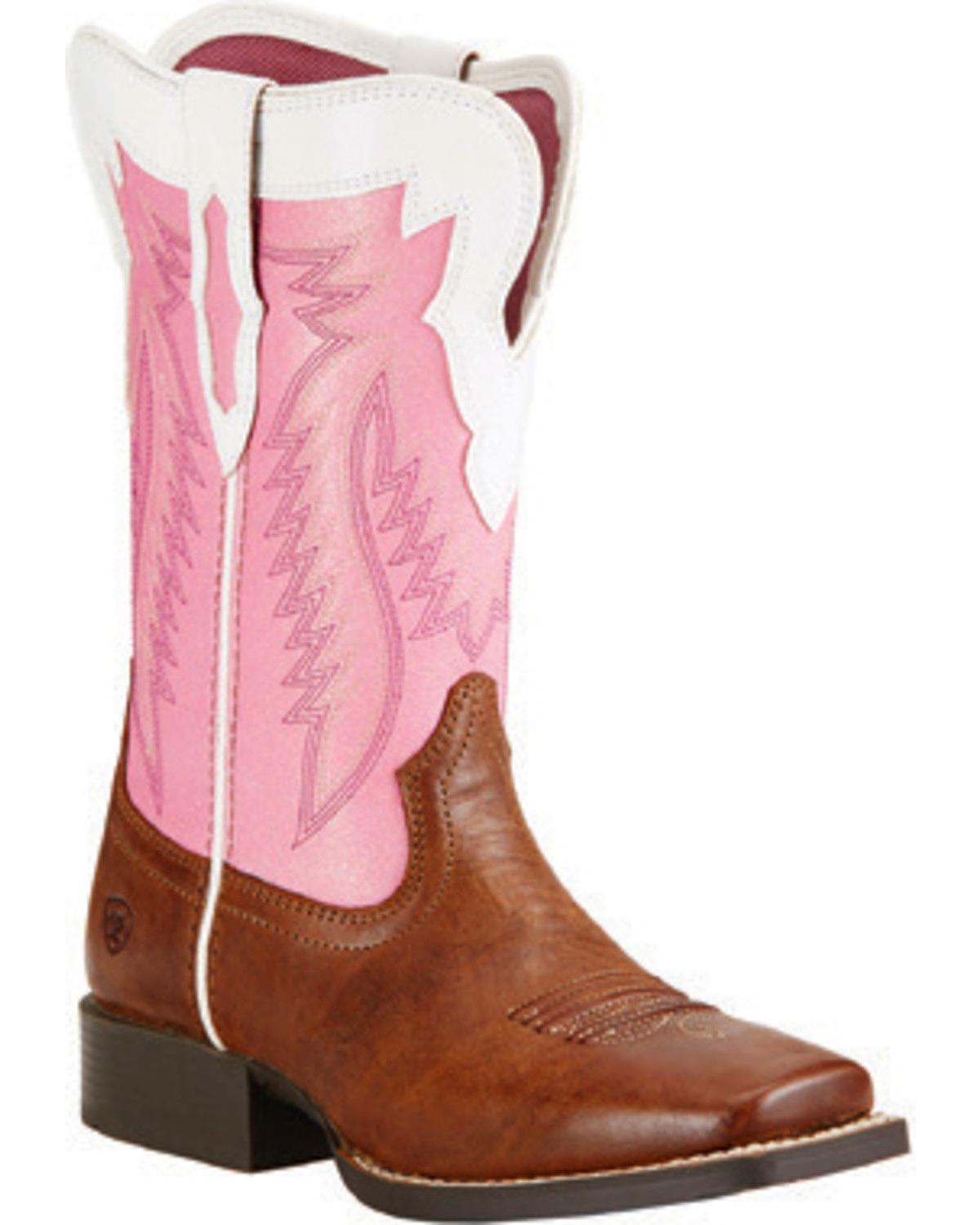 Ariat Girls' Buscadero Cowgirl Boot Square Toe 10018618C by Ariat
