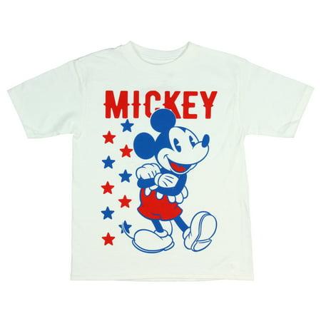 Disney Mickey Mouse Shirt Boy's Red White Blue Stars Cartoon Kids Tee